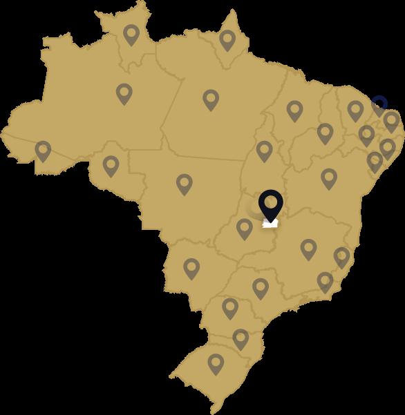 Mapa do Basil com pins representando escritórios associados